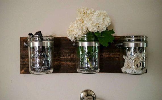 Mason Jar Decor  Bathroom Organizer  3 Mason Jars on Reclaimed Wood  Wall Decor ... #masonjarbathroom