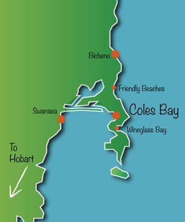 Map Of Freycinet Including Coles Bay Wineglass Bay Bicheno Great