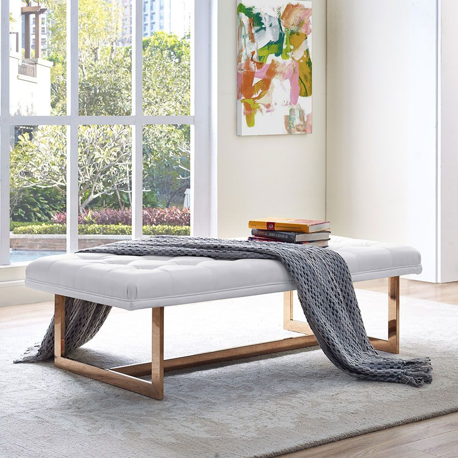 Orleans White + Gold Contemporary Bench