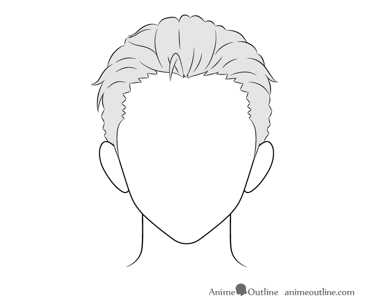How To Draw Anime Male Hair Step By Step Animeoutline In 2020 Manga Hair Drawing Male Hair Anime Drawings