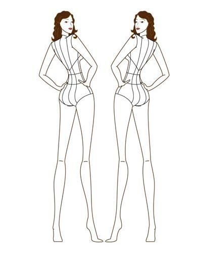 Female Fashion Figure Croqui 002 back view Posture drawing - blank fashion design templates