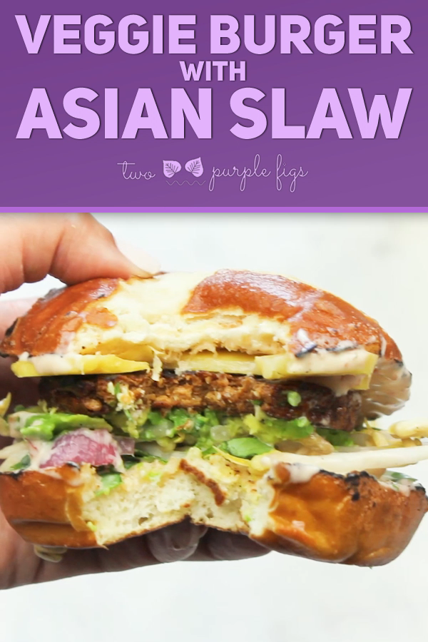 Veggie Burger With Asian Slaw This mouthwatering Veggie Burger recipe is hearty, filling, delicious and totally fool proof. Paired with a crunchy, sweet mango Asian slaw, it's like a burger party! |  @twopurplefigs