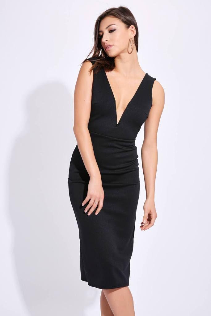 06b4a2eb2ba3 Black V Bar Plunge Neck Midi Dress | Cocktail party dresses ...