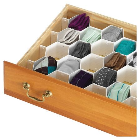 Hexagon Drawer Organizer // elegant shape, more useful than squares, and I need this for my sock drawer!