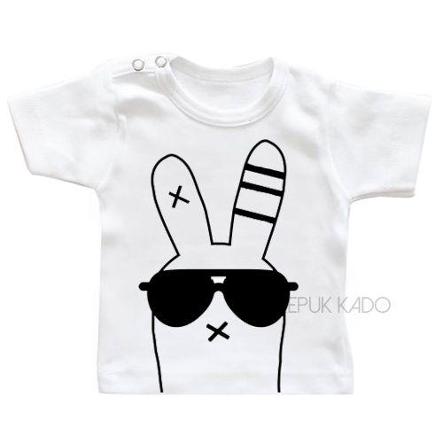 shirt met afbeelding stoer konijn wasvoorschrift wassen