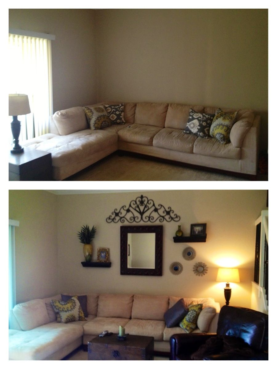 The living room collage is complete! Before & After ...