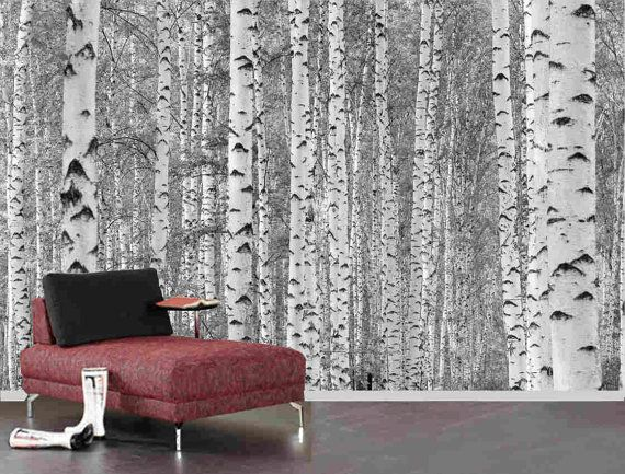Birch Tree Forest Mural, Pre Pasted Washable And Dry Strippable Wall Paper, Wall Covering On