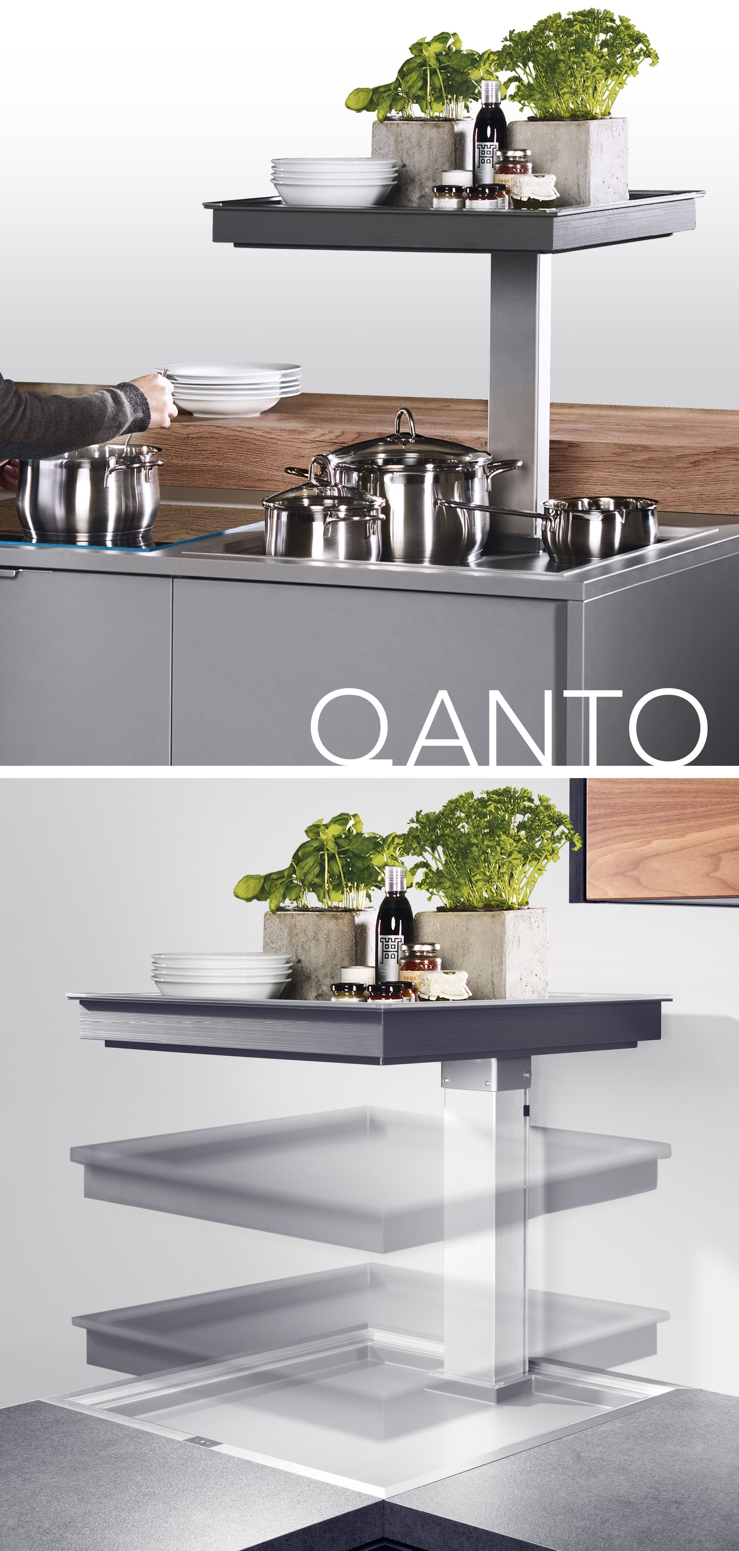 The QANTO electric lift-up system offers two trays that ...