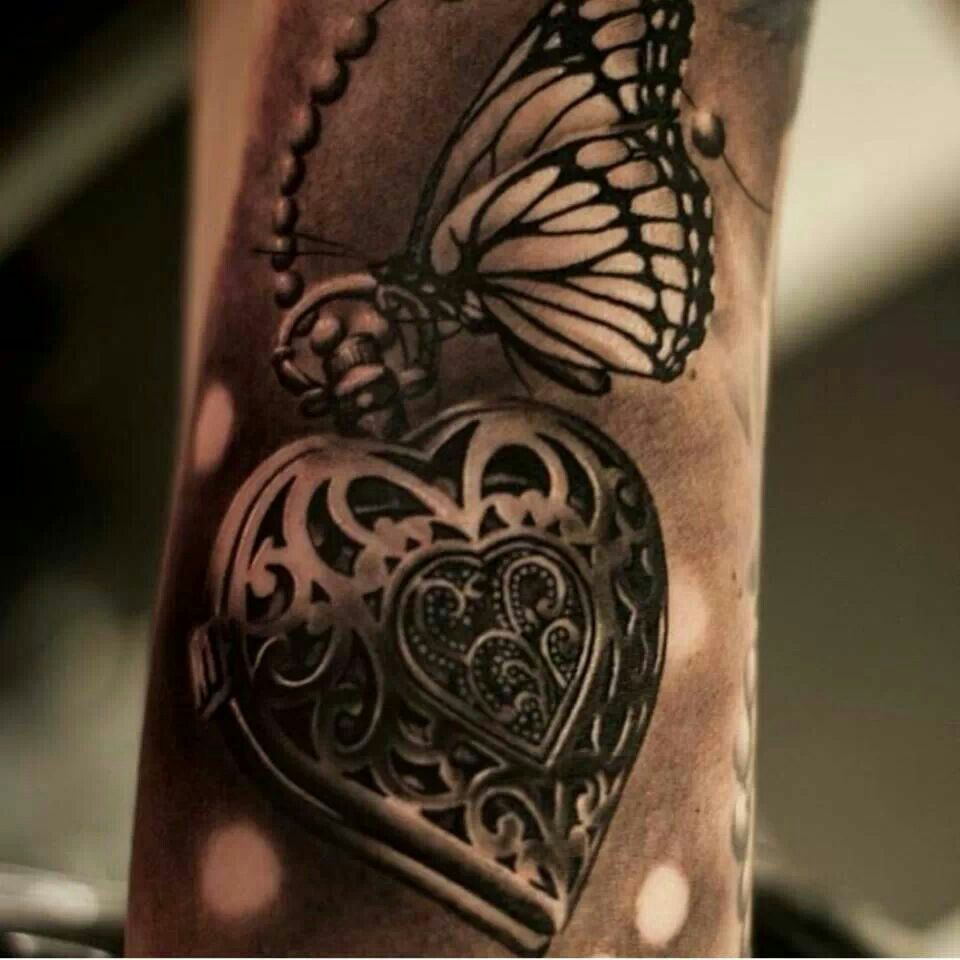 Heart Locket With Butterfly Tattoo With Images Locket Tattoos
