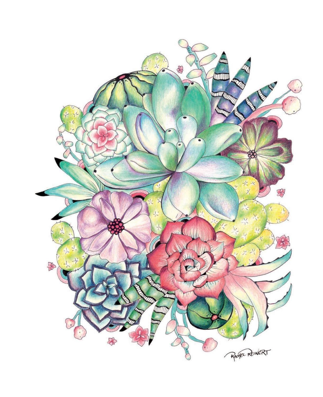 Botanical art coloring book - Desert Wonderland