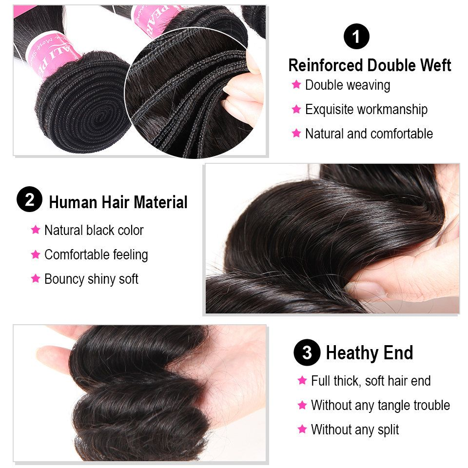 Hair Extensions & Wigs Human Hair Weaves Alipearl Human Hair Loose Wave Bundles With Frontal Pre Plucked Peruvian Hair Weave Bundles 3pcs Natural Color Remy Hair