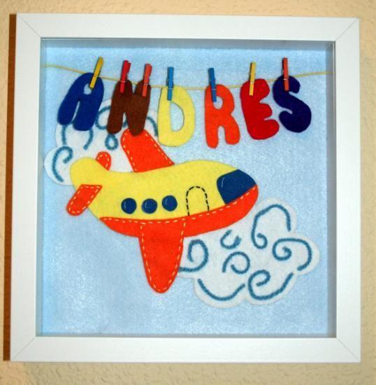 cuadro infantil personalizado: avión fieltro,madera,marco lacado en ...