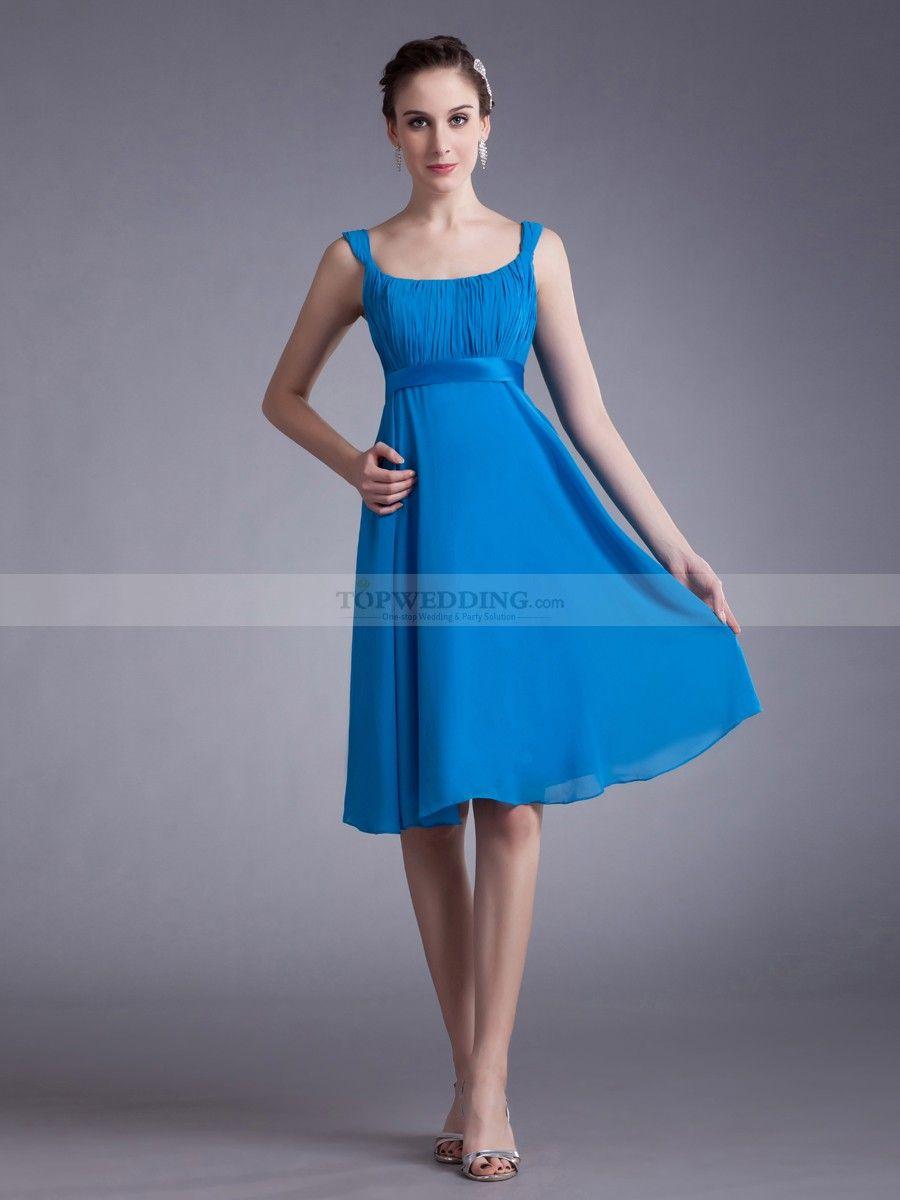 Dina sleeveless square neck chiffon empire knee length bridesmaid