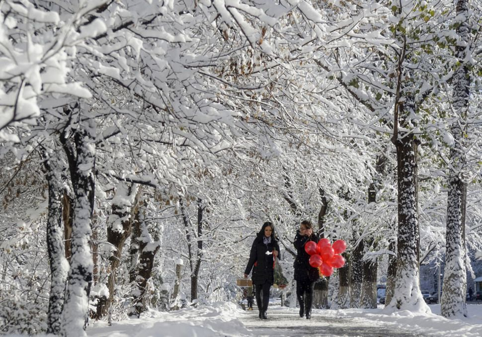 שתי נשים הולכות בין עצים בקזחסטן המושלגת, נובמבר 2015