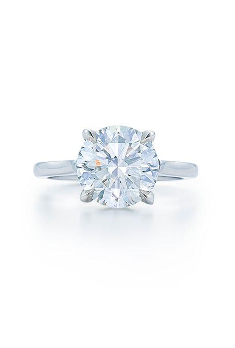 89b42cdcafa Brides.com  . Round-cut brilliant diamond platinum engagement ring