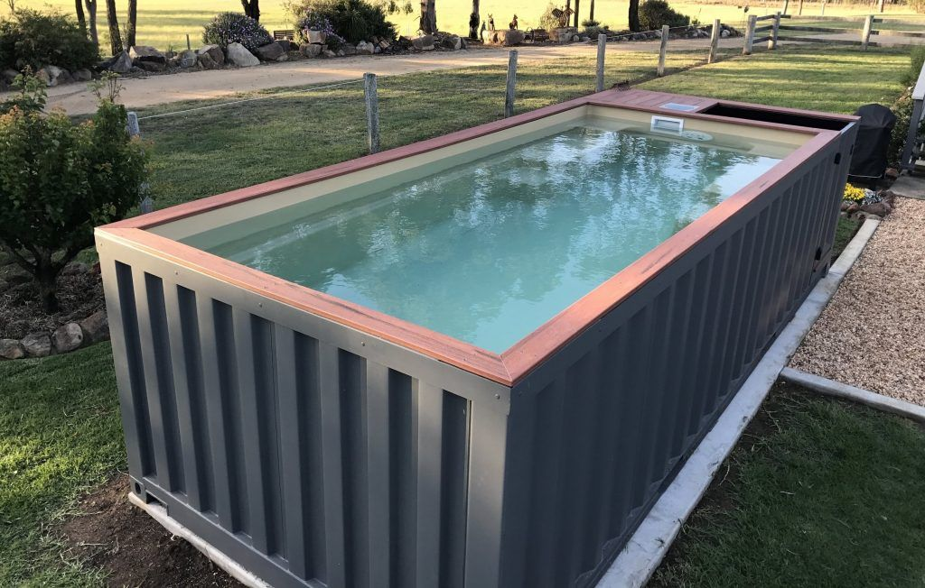 Converting A Shipping Container Into A Swimming Pool Seems Like A Cheap Way Of Keeping Shipping Container Pool Container Pool Shipping Container Swimming Pool