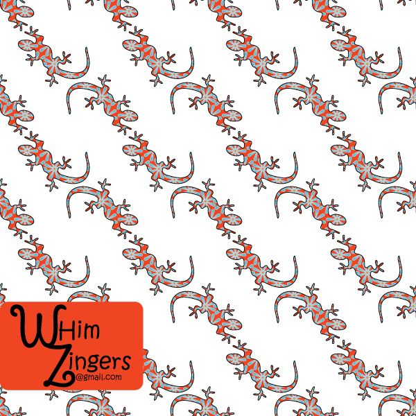A digital repeat pattern for seamless tiling. #repeatpattern #seamlesspattern #textiledesign #surfacepatterndesign #vectorpatterns #homedecor #apparel #print #interiordesign #decor #repeat #pattern #repeat #seamless #repeating #tile #scrapbooking #wallpaper #fabric #texture #background #whimzingers #animals  #lizards #bright  #white #red #blue #orange