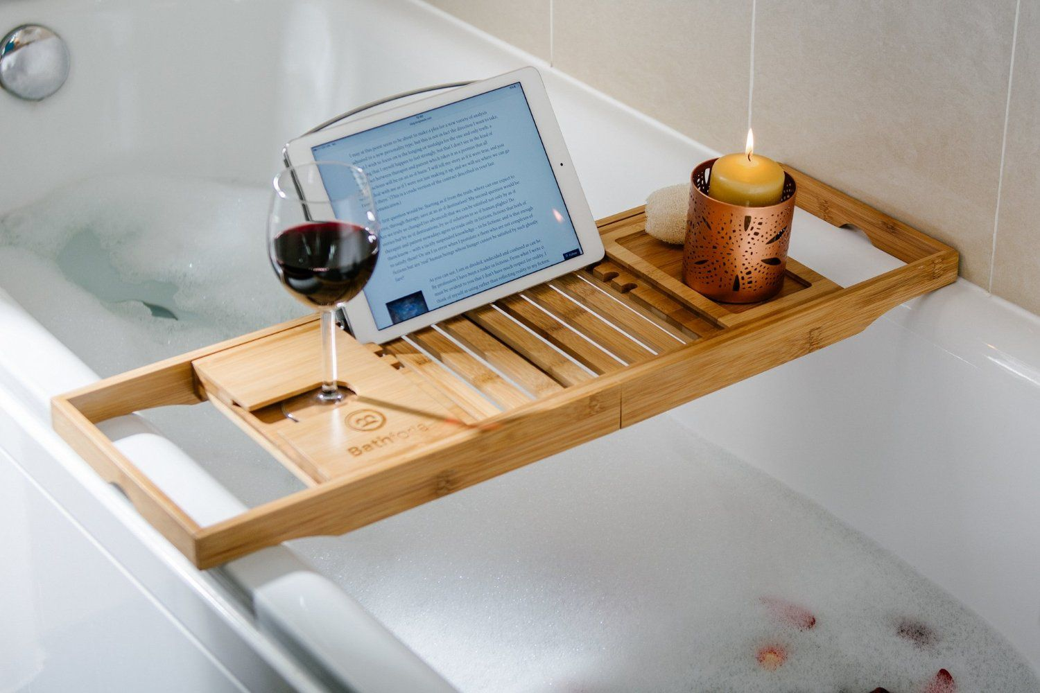 Amazon.com - Bathforia Bathtub Caddy: Bamboo Bathtub Caddy Puts The ...