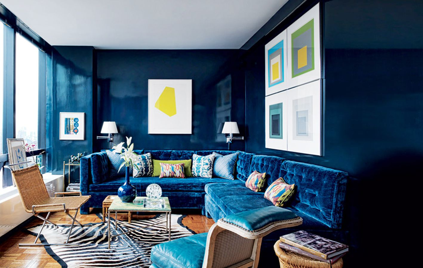 Best Dark Blue Blue Blog Family Room Interior Design 400 x 300