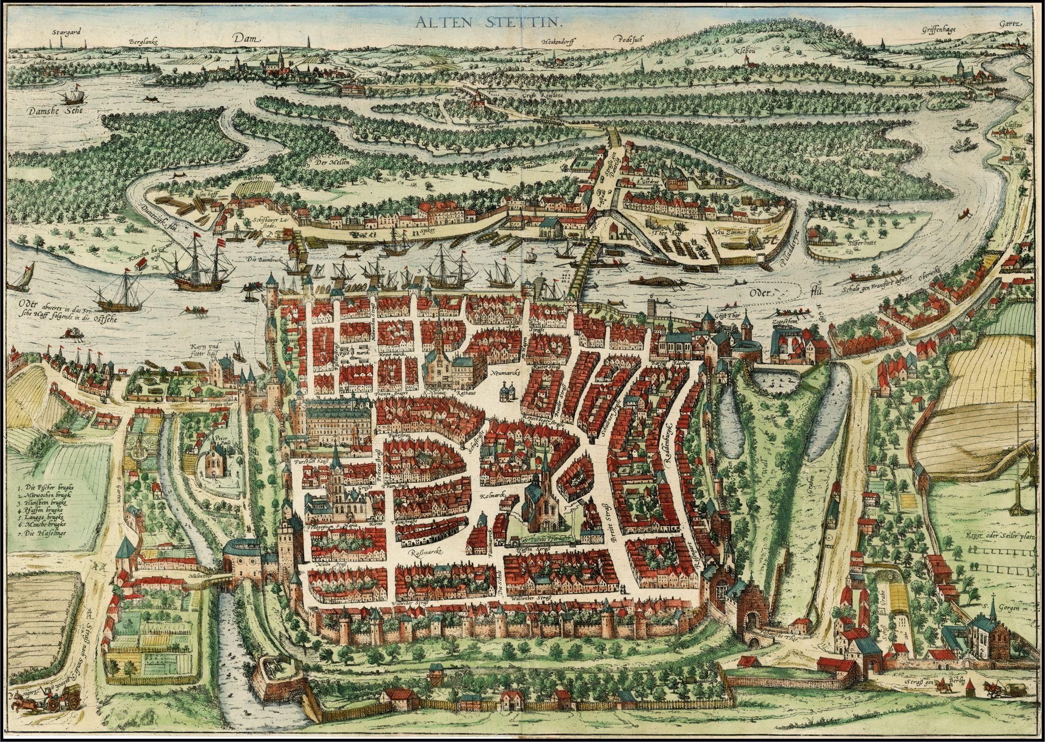 Hanseatic Stettin In 1580 Nowadays Poland Antique Maps Map