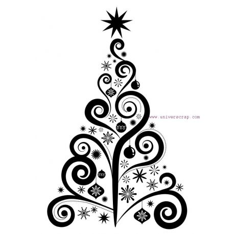 Tampon Universcrap Dessin Noel Noel Arbres De Noel Elegants