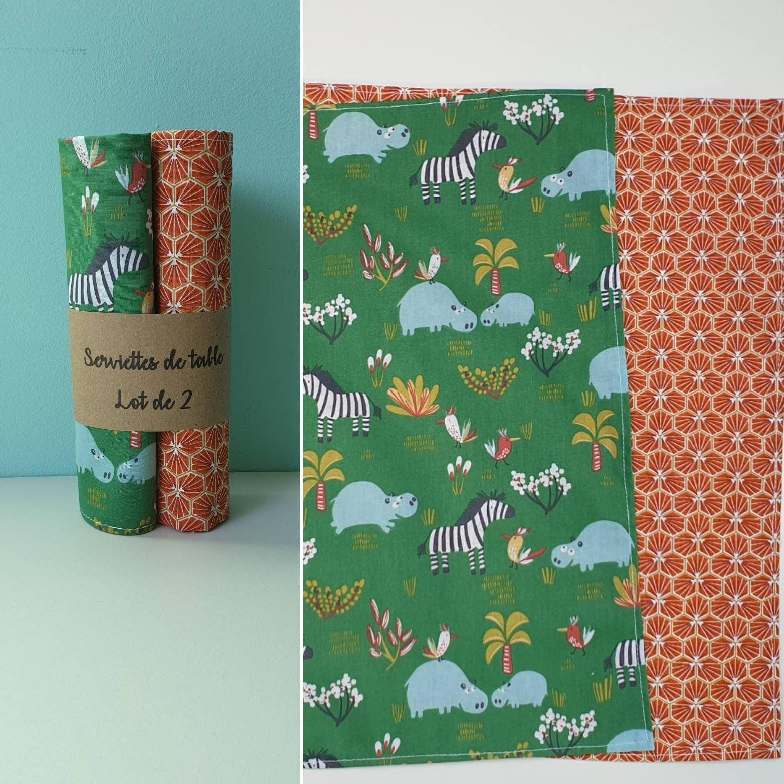 Serviettes De Table Lavable Animaux De La Savane Et Riad Orange Lot De 2 Serviette En Coton Zero Dechet In 2020 Cotton Towels Towel Animals Savannah Chat