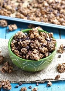 Triple Chocolate Coconut Granola Clusters [with protein]