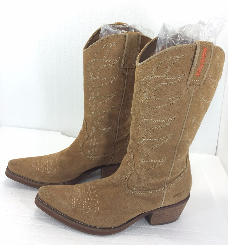 9d77f9fa8a1 Rocket Dog Cowboy Boots 8.5 Women Tan Suede Country Western Line ...