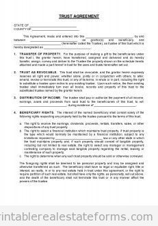 Free Closing  Trust Agreement Printable Real Estate Forms