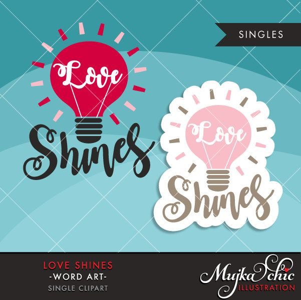Valentine Clipart Valentine S Day Word Art Love Shines Etsy Valentines Day Words Word Art Valentine Clipart