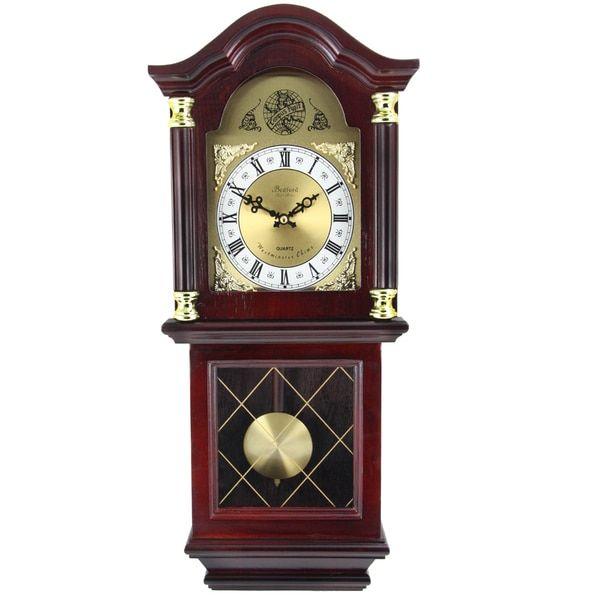 DOOR SIDE TOWARD CORNER $117.49 Bedford Clock Collection Cherry Colored Oak  Wood 26 Inch