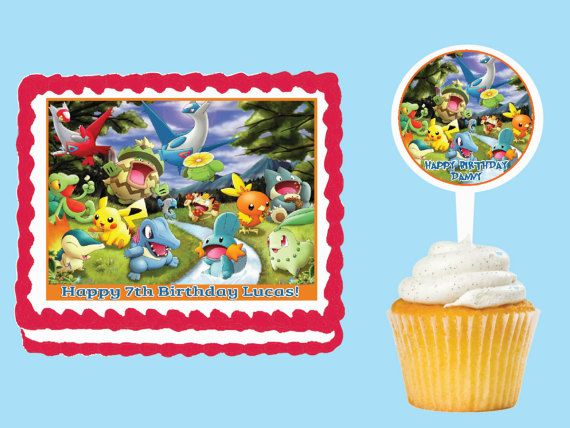 Pokemon Edible Cake Cupcake Cookie Toppers Decorations Or Crafts