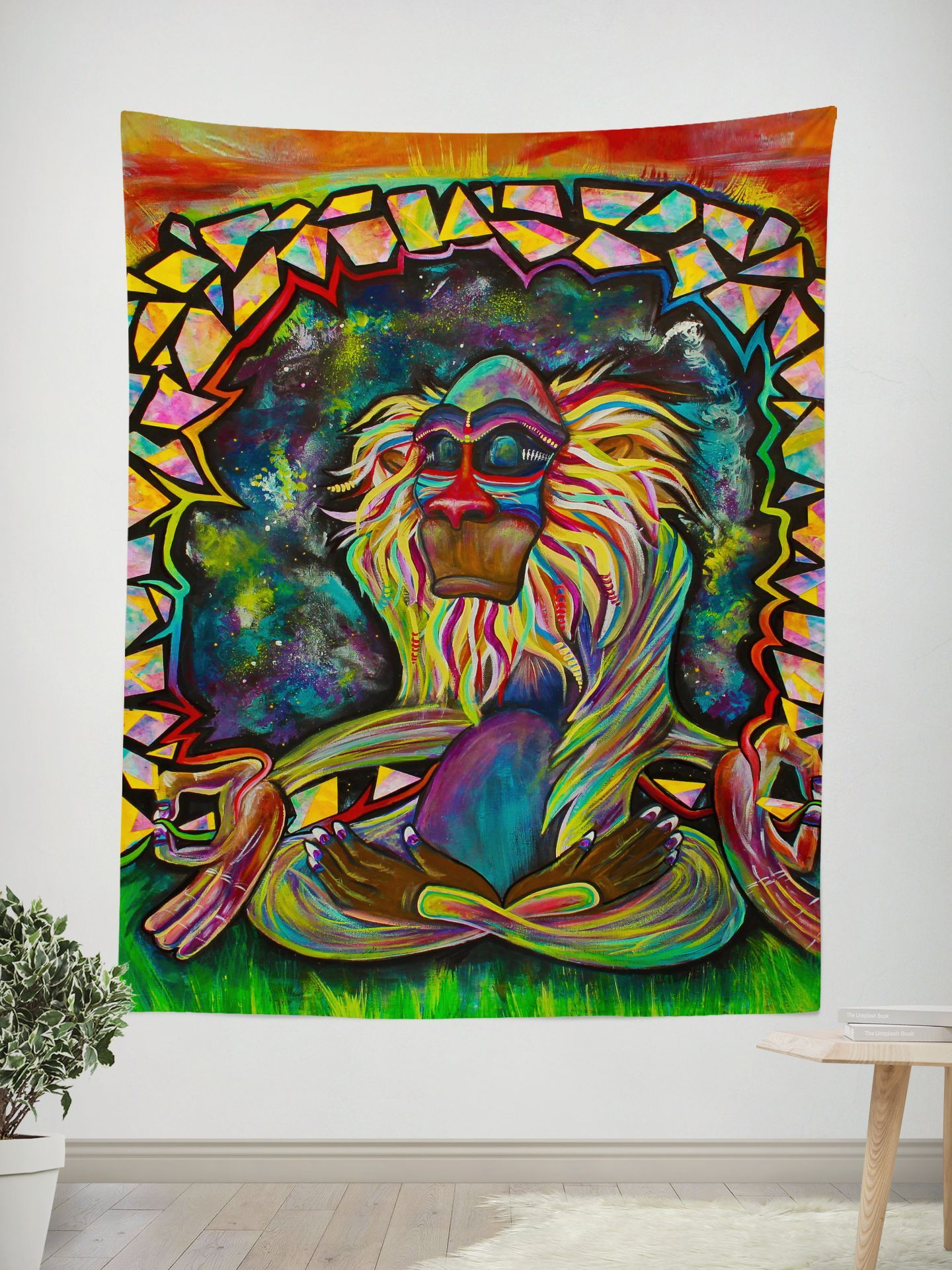 Meditating Rafiki Tapestry