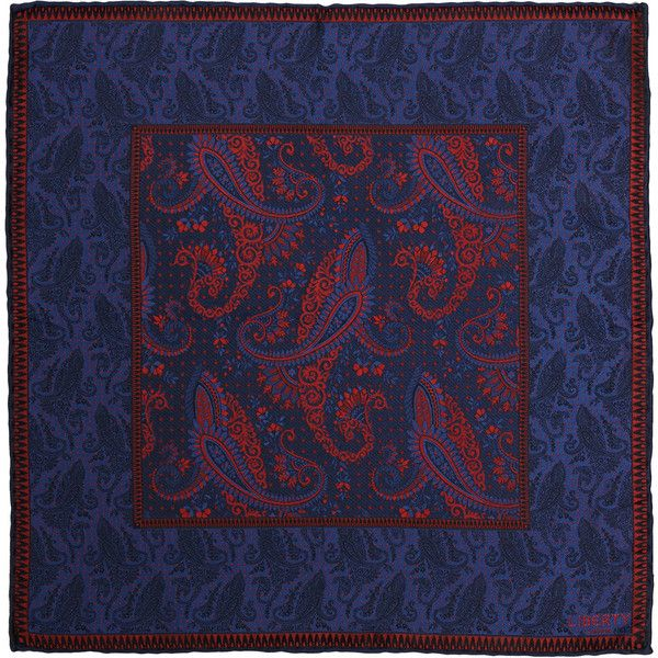 Liberty Print Dark Blue Eastwood Print Silk Pocket Square ($69) ❤ liked on Polyvore featuring accessories, scarves, patterned scarves, print scarves, silk scarves, pure silk scarves and paisley scarves