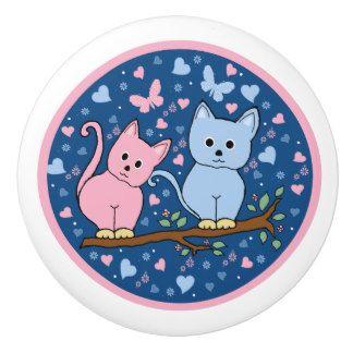 gatos pomo de cerámica