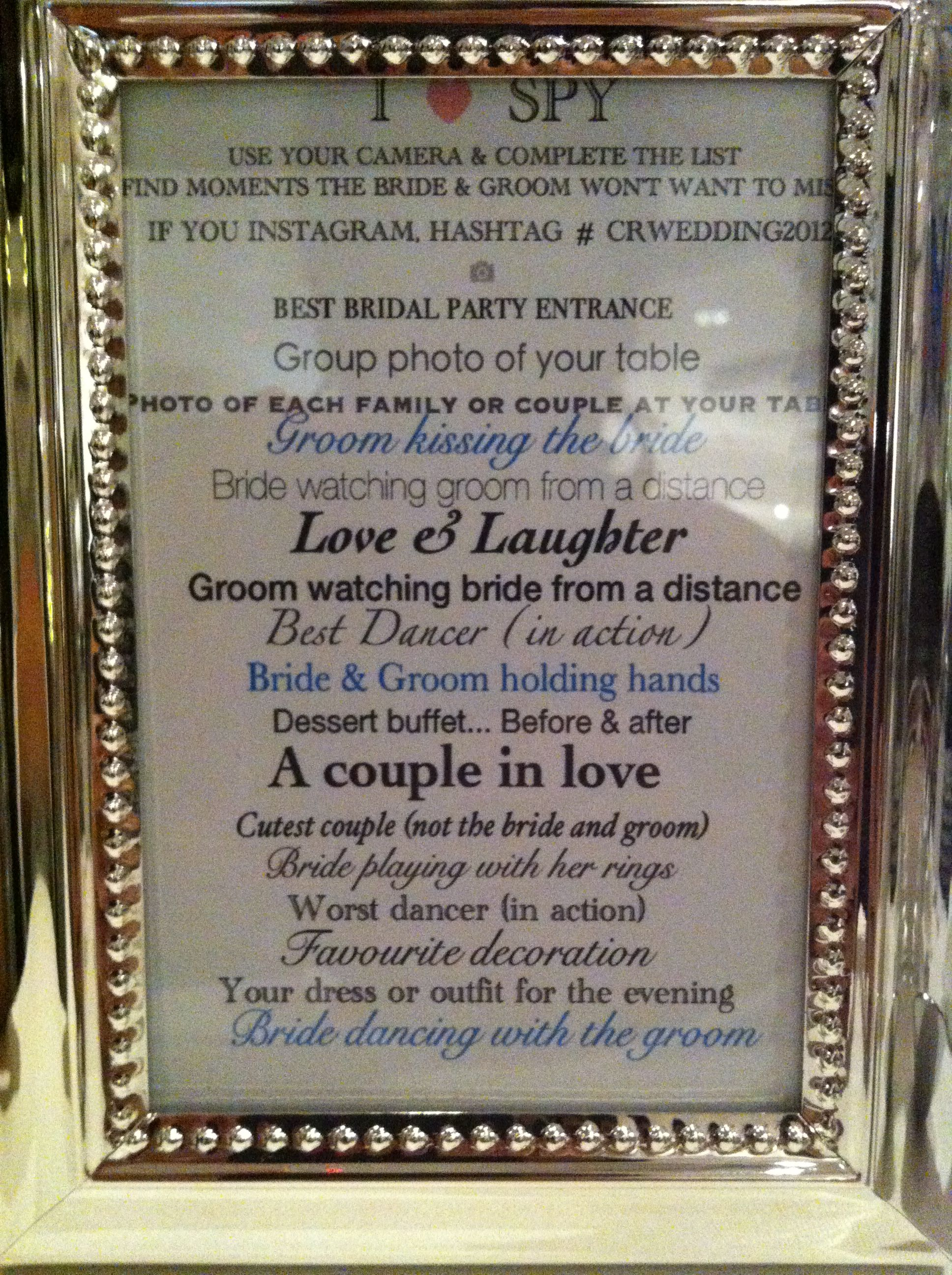 I Spy Wedding Game!!!