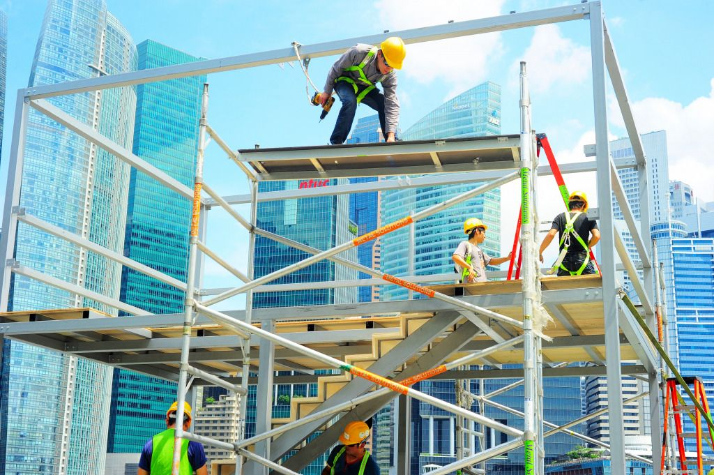 Workers At Construction Site In Singapore Puzzle In People Jigsaw