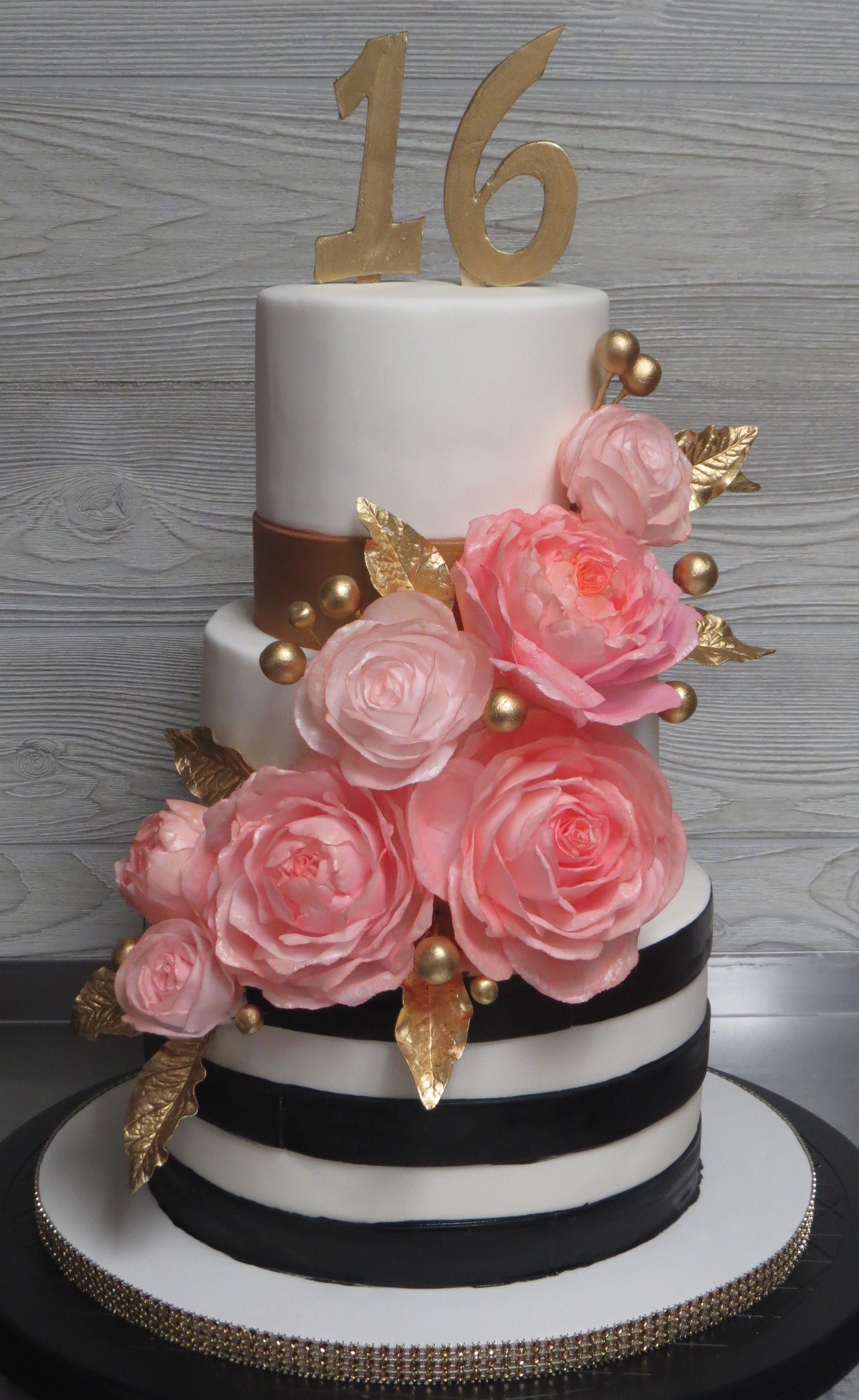 Sweet 16 Cake Coral Black And Gold With Images Sweet 16
