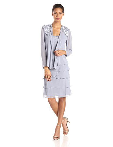 S.L. Fashions Women's Embellished Tiered Dress with Jacket - http ...