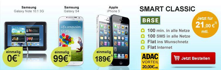 BASE Smart Classic für 21,-EUR mit Galaxy S4, iPhone 5 oder Galaxy Note 10.1 http://www.simdealz.de/e-plus/base-smart-classic-mit-tablet-smartphone-13kw25/ Mehr dazu hier: http://www.simdealz.de/e-plus/base-smart-classic-mit-tablet-smartphone-13kw25/