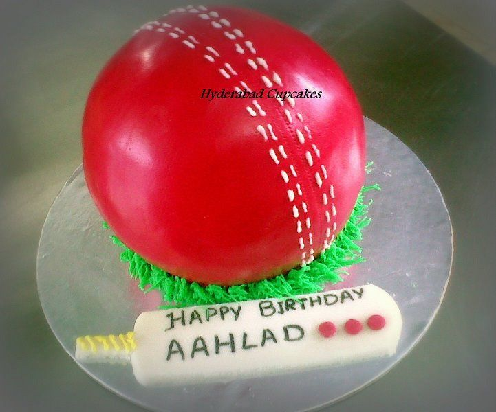 Cricket Ball Cake Images : 3D Cricket Ball birthday cake - Hyderabad Cupcakes ...