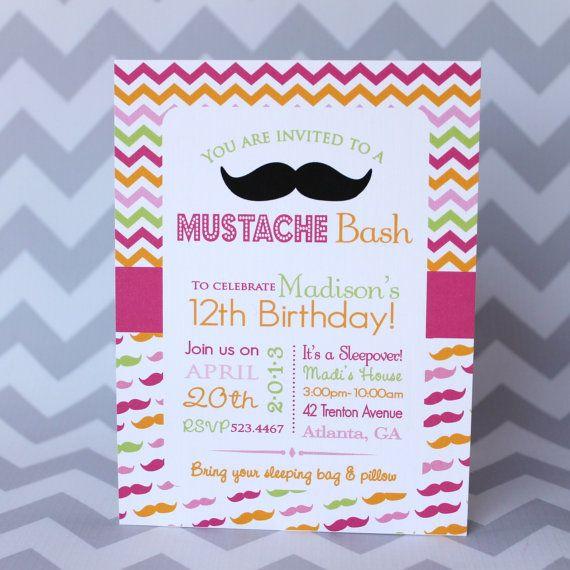 Mustache Bash Teen Girl Birthday Invitation by babycakesart 1800