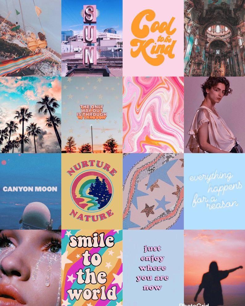 80 pcs Rainbow Aesthetic Collage Kit