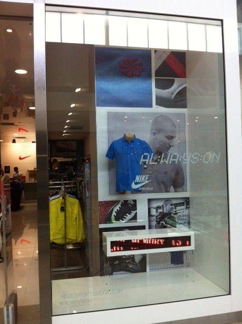 Nike Factory Store Always On retail window display