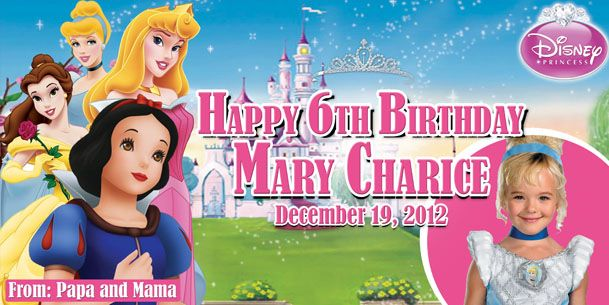 Birthday Tarpaulin Disney Princesses Theme Template Disney