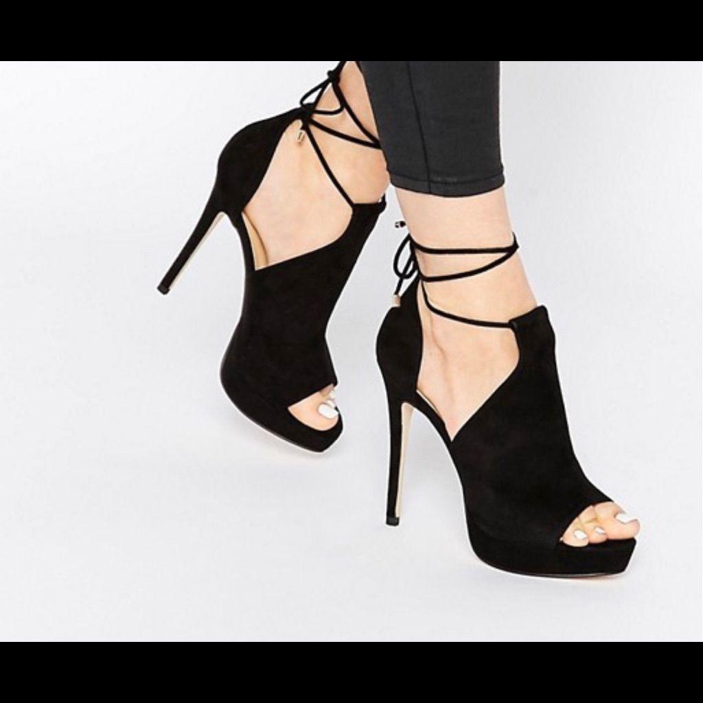 Aldo Tilley Black Ankle Lace Up Heeled Sandals 6 In 2021 Sandals Heels Lace Up Heels Shoes Women Heels