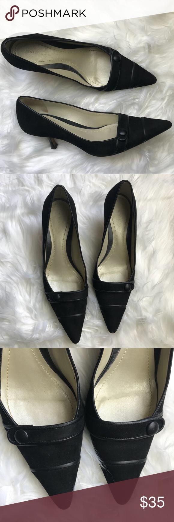 Ann Taylor Black Pointed Toe Suede Kitten Heels 8 Kitten Heels Heels Suede