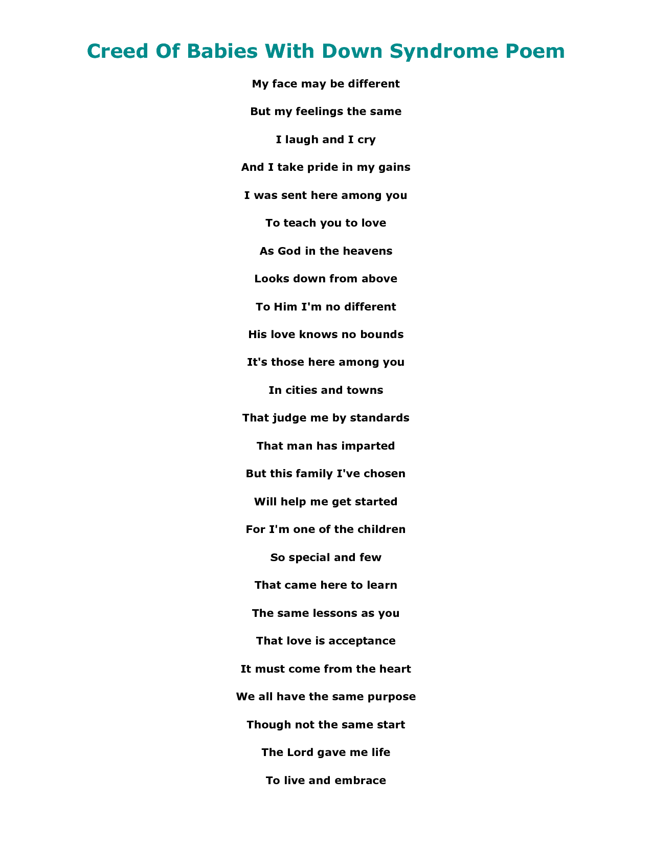 poems about down syndrome scope of work template a piece of my