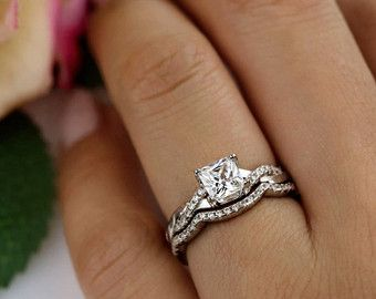 1 Ctw Princess Twisted Infinity Bridal Set Half Eternity Wedding Rings Man Made Diamond Simulants Swirl Engagement Ring Sterling Silver