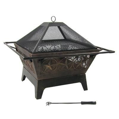 Sunnydaze Decor Northern Galaxy 32 In X 24 In Square Bronze Steel Wood Burning Fire Pit With Cooking Grate And Spark Screen Wood Burning Fires Wood Burning Fire Pit Wood Fire Pit